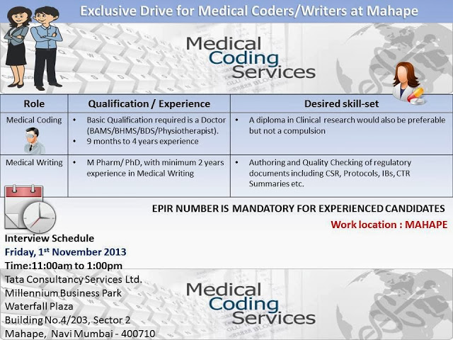 Exclusive Drive for Medical Writing & Medical Coding Hiring @ TCS