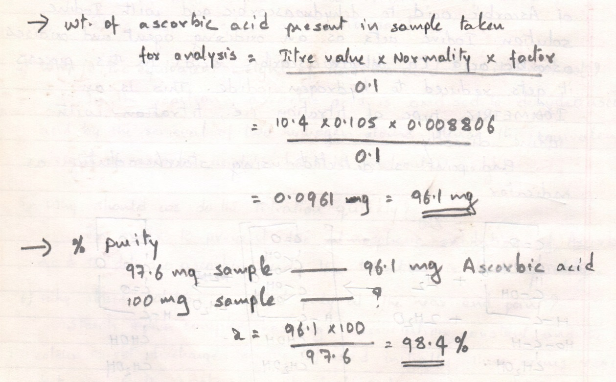 Assay of Ascorbic Acid with Calculations