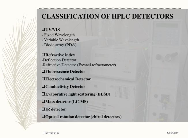 HPLC Detectors - Types Comparison Principles {PDF PPT}*
