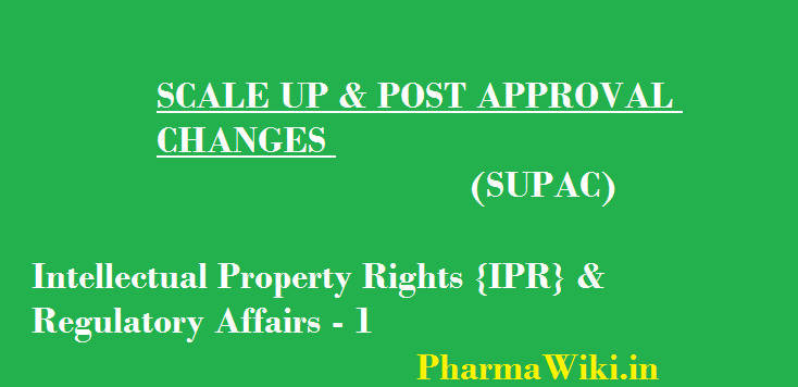Intellectual Property Rights {IPR} & Regulatory Affairs 1 SUPAC