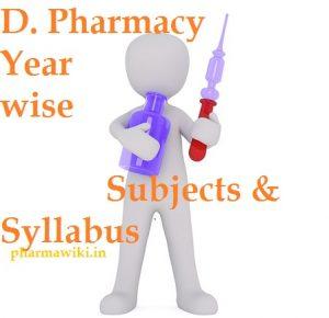 D. Pharmacy Year wise Subjects & Syllabus - D Pharma 1st & 2nd Year