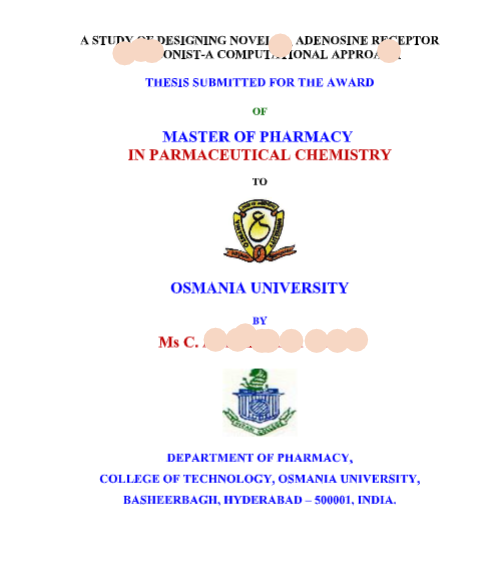 Thesis Title Template M Pharm B Pharmacy Projects PHD Format